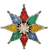 Northlight Lighted Multicolored Mosiac Style Star Christmas Tree Topper with Clear Lights, 7.75""