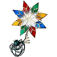 Kurt Adler 10-Light Multi-Color Capiz Star Tree Topper