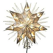 "Kurt Adler 14"" 7-Point Natural Capiz Star Lighted Treetop"