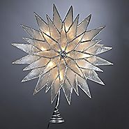 "11"" Lighted Capiz Silver Sunburst Star Christmas Tree Topper - Clear Lights"