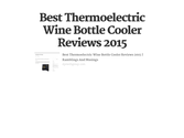 Best Thermoelectric Wine Bottle Cooler Reviews 2015