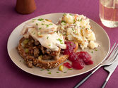 What a Face! Open Faced Hot Turkey Sammys with Sausage Stuffing and Gravy, Smashed Potatoes with Bacon, Warm Apple Cr...