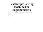 Best Simple Sewing Machine For Beginners 2015