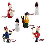 BRUBAKER 6 Handpainted Wooden Christmas Tree Ornaments Decoration Winter Outdoor Activity- Santa Claus, Snowman, Ice ...
