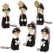 BRUBAKER 6 Handpainted Wooden Christmas Tree Ornaments Decoration - Christmas Choir - Designed in Germany