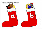 Alphabet on Christmas stockings (SB3511) - SparkleBox