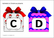 Alphabet on Christmas presents - capitals (SB6622) - SparkleBox