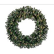 "60"" Pre-Lit Deluxe Windsor Pine Artificial Christmas Wreath - Clear Lights"