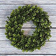 Boxwood Wreath, Artificial Wreath for the Front Door by Pure Garden, Home Décor, UV Resistant - 14 Inches