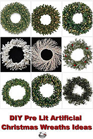 DIY Pre Lit Artificial Christmas Wreaths Ideas
