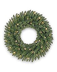 Balsam Hill Berkshire Mountain Fir Prelit Artificial Christmas Wreath, 48 Inches, Clear Lights