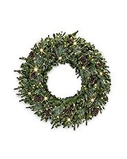 "30"" Balsam Hill Mixed Evergreen Prelit Artificial Christmas Wreath - Clear LED - Battery"