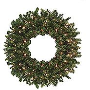 "Darice 24"" Pre-Lit Canadian Pine Artificial Christmas Wreath - Clear Lights"