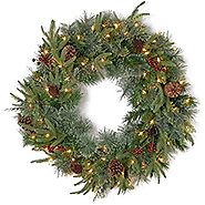 National Tree 24 Inch Feel Real Colonial Wreath with 8 Pine Cones, 8 Red Berries and 50 Dual Color Battery Operated L...