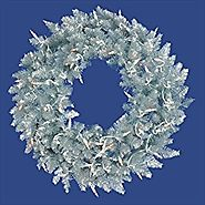 NorthLight 5 ft. Pre-Lit Silver Ashley Spruce Tinsel Christmas Wreath - Clear Lights