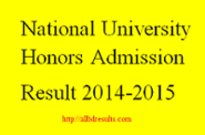National University Honors Admission Result 2014-2015