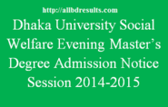 DU Social Welfare Evening Masters Degree Admission Notice