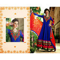 Blue Gown Wedding Anarkali Georgette Embroidery Salwar Kameez