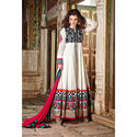 Off White Black Gown Wedding Anarkali Net Embroidery Salwar Kameez