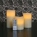 Set of 3 Melted Edge Ivory Wax Flameless LED Battery Operated Pillar Candle Collection with Remote Control and Timer