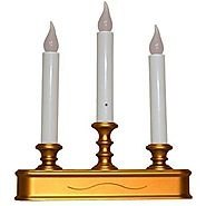 Good Tidings LED 3-Tier Window Christmas Candle Holder with Sensor, Antique Finish