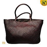 Cwmalls Womens Tote Bag Leather Woven Handbag CW255159