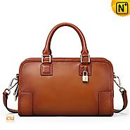 Cwmalls Womens Brown Tote Bag Leather Satchel CW255123