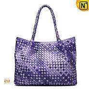 Cwmalls Womens Purple Leather Carryall Tote Bag CW255169