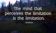 """The mind that perceives the limitation is the limitation."" Buddha"