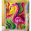 Thumbprintz Shower Curtain, Flamingo Blossom