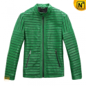 Mens Green Leather Motorcycle Jacket CW866816 - cwmalls.com