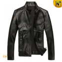 Mens Black Slim Fit Leather Motorcycle Jackets CW812096 - cwmalls.com