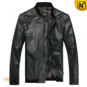 Mens Blue Slim Fit Sheepskin Leather Jackets CW812217 - cwmalls.com