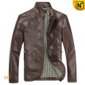Mens Designer Brown Slim Leather Jackets CW812209 - cwmalls.com