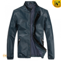 Mens Blue Slim Motorcycle Leather Jackets CW812208 - cwmalls.com
