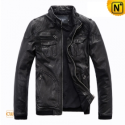 Mens Designer Black Motorcycle Leather Jackets CW813074 - cwmalls.com
