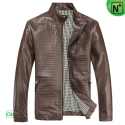 Brown Biker Jacket for Men CW812210 - m.cwmalls.com