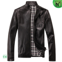 Mens Black Leather Jacket CW812206 - m.cwmalls.com