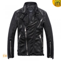 Mens Leather Biker Jacket CW813119 - jackets.cwmalls.com