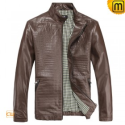 Brown Leather Moto Jacket CW812210 - jackets.cwmalls.com