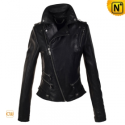 Women Black Leather Motorcycle Jacket CW608114 - cwmalls.com