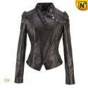 Black Cropped Leather Jackets CW611217 - cwmalls.com