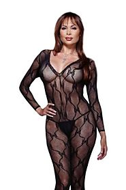 Dreamgirl Women's Plus-Size Long-Sleeve Bow Lace Bodystocking
