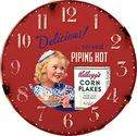 Tirquin Retro Vintage Kelloggs Cornflakes Rice Crispies Girl Wall Clock, 11.75""