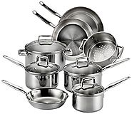 T-fal E469SC Tri-ply Stainless Steel Multi-clad Dishwasher Safe Oven Safe Cookware Set, 12-Piece, Silver