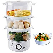 Ovente FS53W Triple-Tiered Electric Food Steamer, White