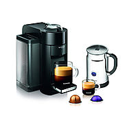 Nespresso A+GCC1-US-BK-NE VertuoLine Evoluo Deluxe Coffee & Espresso Maker with Aeroccino Plus Milk Frother, Black Re...