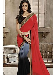 VINTAGE FLAVOUR 9013:- Adore Yourself in This Grey Shaded Georgette Saree With Fuchsia Pallu. Zari Embroidery On Bord...