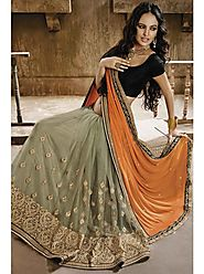 VINTAGE FLAVOUR 9016:- Half-n-Half Saree In Net With Chiffon Fabric Mix Gives It A Sheer Balance. Skirt Net In Light ...