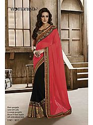 VINTAGE FLAVOUR 9017:- Black Georgette Saree With Pallu In Orange Georgette.Blouse In Black Dupion With Embroidered Neck